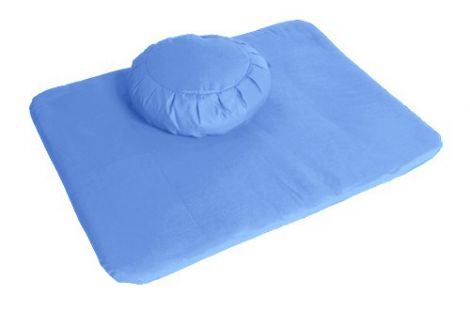 Meditation Set Cornflower Blue Zafu and Flat Mat