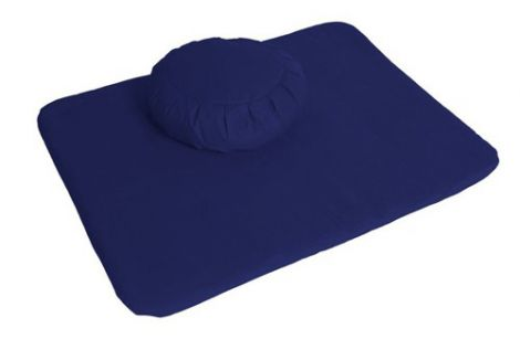 Meditation Set Dark Blue Zafu and Flat Mat
