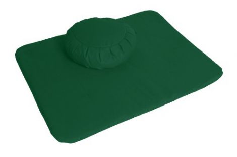Meditation Set Forest Green Zafu and Flat Mat