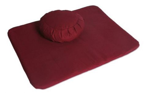 Meditation Set Tibetan Maroon Zafu and Flat Mat